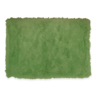 Fun Rugs 2-Foot 7-Inch x 3-Foot 11-Inch Flokati Accent Rug in Lime Green