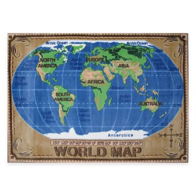 Fun Rugs 5-Foot 3-Inch x 7-Foot 6-Inch World Map Area Rug