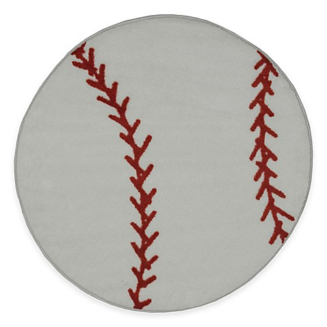 Buy fun rugs fun time 3 foot 3 inch round baseball rug from bed bath amp beyond