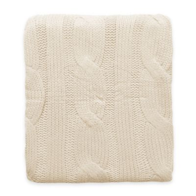 Cable Knit Throw in Ivory