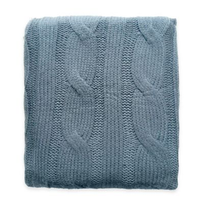Cable Knit Throw in Spa Blue