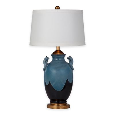 Bassett Mirror Company Marion Table Lamp in Blue/Bronze