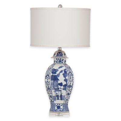 Bassett Mirror Company Alden Table Lamp in Navy/White