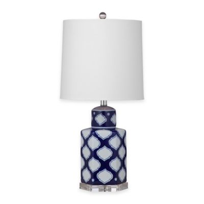 Bassett Mirror Company Holten Table Lamp in Navy/White