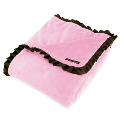 Trend Lab® Maya Satin Ruffled Receiving Blanket in Pink/Brown