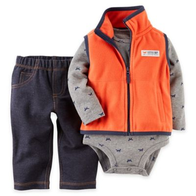 "Carter's® Newborn 3-Piece ""On the Prowl"" Vest, Long Sleeve Bodysuit and Jean Set in Orange/Grey"
