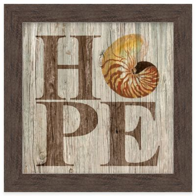 "Beach Chic Coastal Inspirational ""Hope"" Framed Wall Art"