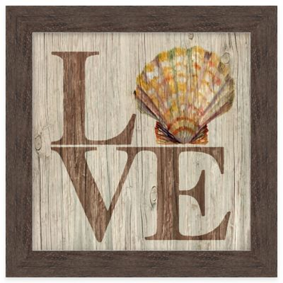 "Beach Chic Coastal Inspirational ""Love"" Framed Wall Art"