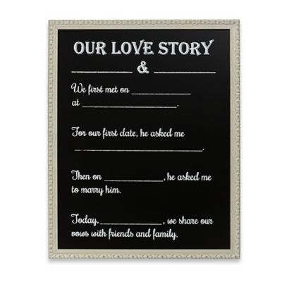"""Our Love Story"" Framed Chalkboard Wall Plaque"