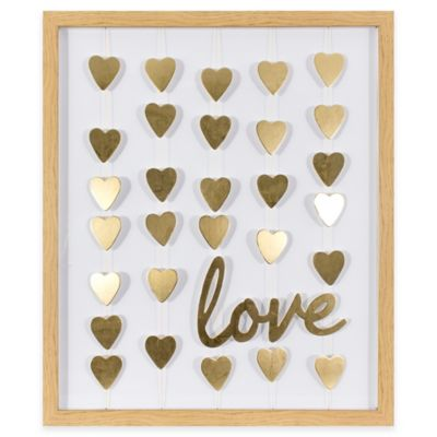 Gold Foil Hearts and Love Framed Mobile Wall Art