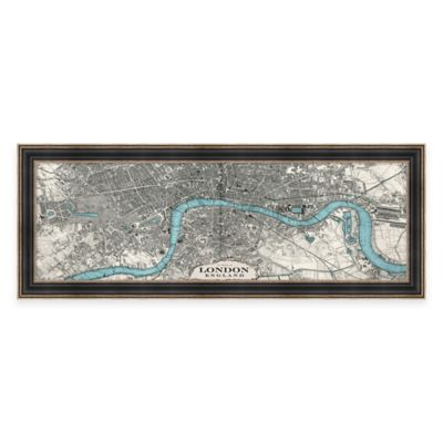Vintage Map of London Framed Canvas Wall Art