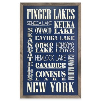 Vintage Finger Lakes Sign Framed Wall Art in Navy