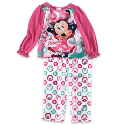 Disney® Minnie Mouse 2-Piece Size 2T Long Sleeve Pajama Set in Pink