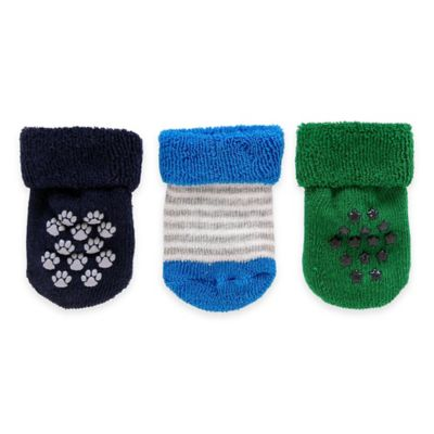 Carter's® Size 3-12M 3-Pack Paw and Star Terry Fold-Over Socks