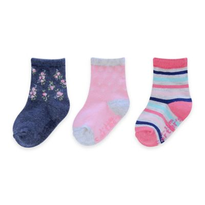 Carter's® Size 3-12M 3-Pack Flower and Stripe Computer Socks in Pink