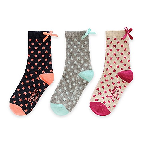 Buy OshKosh B'Gosh® Size 2T-4T 3-Pack Stars and Bows Socks ...