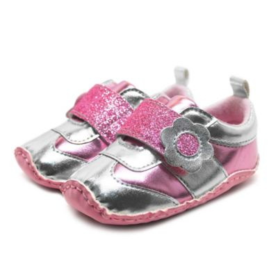 Stepping Stones Size 1 Athletic Sneaker in Pink/Silver with Glitter Flower