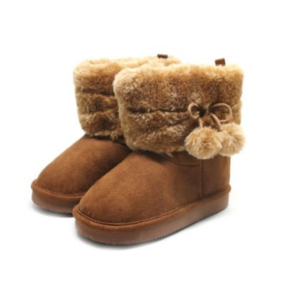 Stepping Stones Size 4 Faux Fur Pom-Pom Boot in Brown