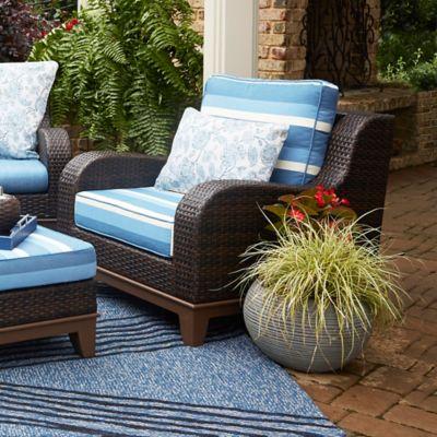 Scott Lining™ Moorea Rattan Lounge Chair in Dark Brown/Moorea Blue