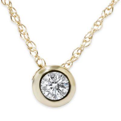 14K Yellow Gold .25 cttw Diamond 18-Inch Chain Bezel Set Solitaire Pendant Necklace