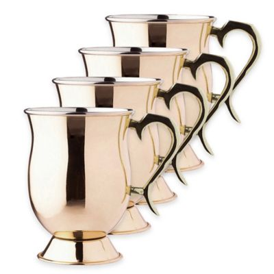 Old Dutch International Smooth Copper 6-Piece Tankard Set with Brass Handle
