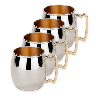 Old Dutch International Nickel-Plated Solid Copper Hammered Moscow Mule Mugs (Set of 4)