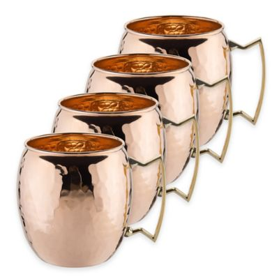 Old Dutch International 16 oz. Unlined Solid Copper Hammered Moscow Mule Mugs (Set of 4)