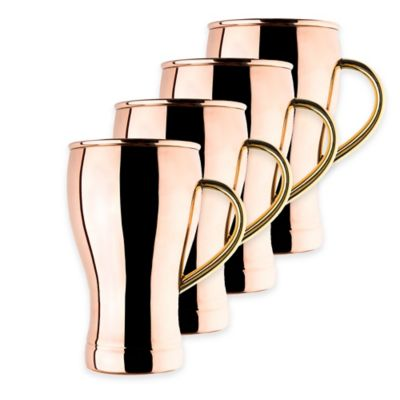 Old Dutch International 14 oz. Solid Copper Soda Fountain Moscow Mule Mugs (Set of 4)