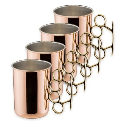 Old Dutch International 20 oz. Brass Knuckle Solid Copper Moscow Mule Mugs (Set of 4)