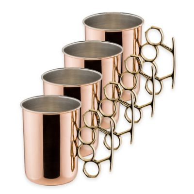 Old Dutch International 20 oz. Brass Knuckle Hammered Solid Copper Moscow Mule Mugs (Set of 4)