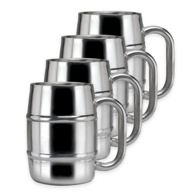 Old Dutch International Keep-Kool Double-Walled Keg-Style Stainless Steel Mugs (Set of 4)