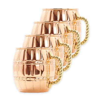 Old Dutch International 16 oz. Solid Copper Nickel-Lined Barrel Moscow Mule Mugs (Set of 4)