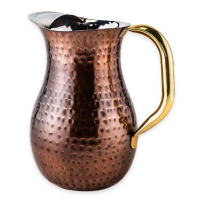 Old Dutch International Antique-Copper-Plated Hammered Water Pitcher with Brass Handle