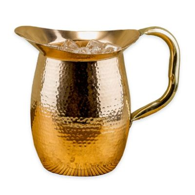 Old Dutch International Solid Copper Hammered Water Pitcher with Brass Handle