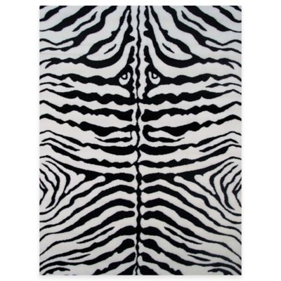 Fun Rugs™ Zebra Skin 4-Foot 3-Inch x 6-Foot 6-Inch Area Rug in White/Black
