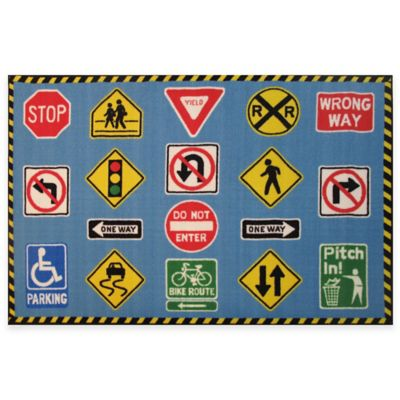 Fun Rugs Fun Time 4-Foot 3-Inch x 6-Foot 6-Inch Traffic Signs Area Rug