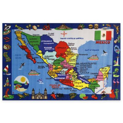 Fun Rugs 8-Foot x 11-Foot Map of Mexico Area Rug