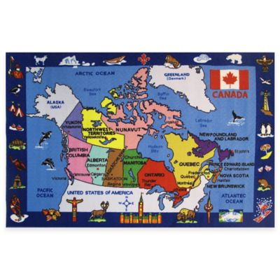 Fun Rugs Fun Time Map of Canada 5-Foot 3-Inch x 7-Foot 6-Inch Area Rug