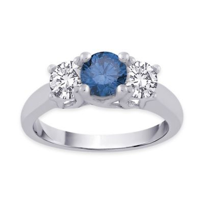 14K White Gold 1.5 cttw Blue and White Diamond Size 8 Ladies' 3-Stone Wedding Ring