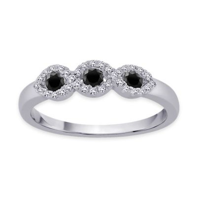 10K White Gold .35 cttw Enhanced Black and White Diamond Size 6 Ladies' Wedding Ring