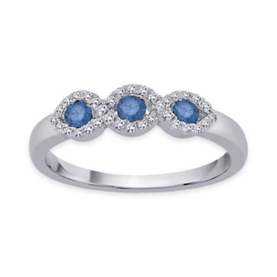 10K White Gold .35 cttw Blue and White Diamond Size 6 Ladies' Wedding Ring