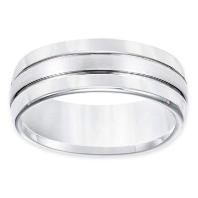 TRITON® White Tungsten Carbide Brushed Center Size 9.5 Men's Comfort-Fit Wedding Band