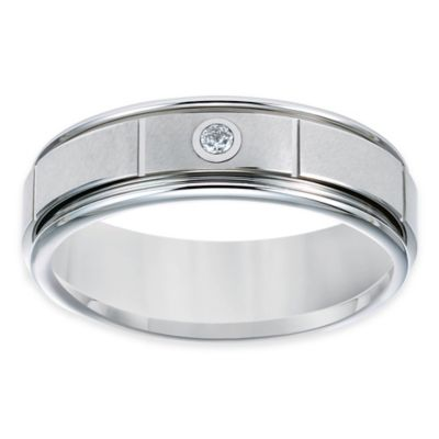 TRITON® White Tungsten Carbide .05 cttw Diamond Size 8 Men's Comfort-Fit Wedding Band