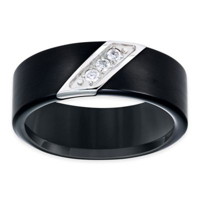 TRITON® Black Tungsten Carbide and Stainless Steel .10 cttw Diamond Size 8.5 Men's Wedding Band