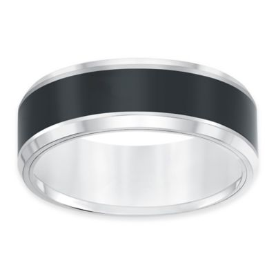 Triton® Tungsten Carbide and Ceramic Size 8.5 Men's Comfort-Fit Wedding Band
