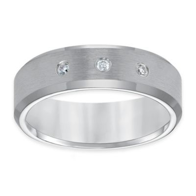 Triton® Tungsten Carbide .10 cttw Diamond Size 8.5 3-Stone Satin Men's Comfort-Fit Wedding Band