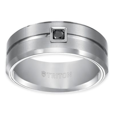 Triton® White Tungsten Carbide .10 cttw Black Diamond Brushed Size 8 Comfort-Fit Wedding Band