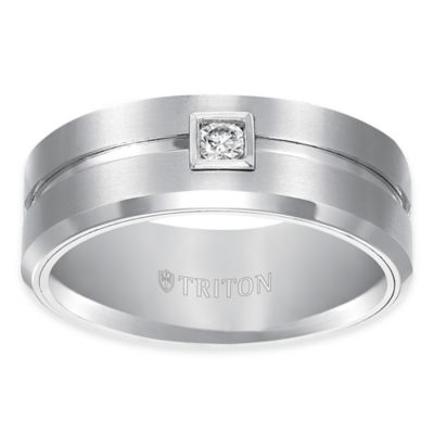 Triton® White Tungsten Carbide .10 cttw Diamond Brushed Size 8 Comfort-Fit Wedding Band