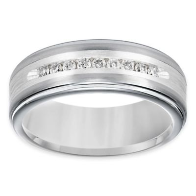Triton® Tungsten Carbide Silver Inlay .27 cttw Diamond Size 8 Men's Comfort-Fit Wedding Band