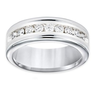 Triton® Tungsten Carbide and Silver .99 cttw Diamond Size 8.5 Satin Comfort-Fit Wedding Band